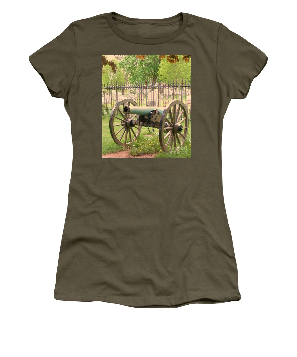 Gettysburgs Women's T-Shirt (Athletic Fit) featuring the painting Gettysburg Cannon Cemetery Hill by Eric Schiabor