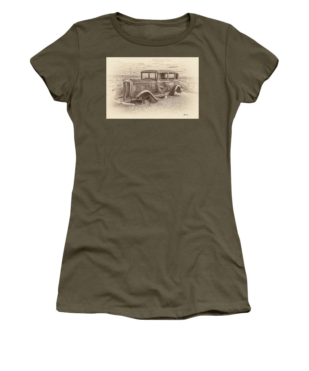 1932 Women's T-Shirt (Athletic Fit) featuring the photograph Ghost Of The Mother Road by Brent Groves