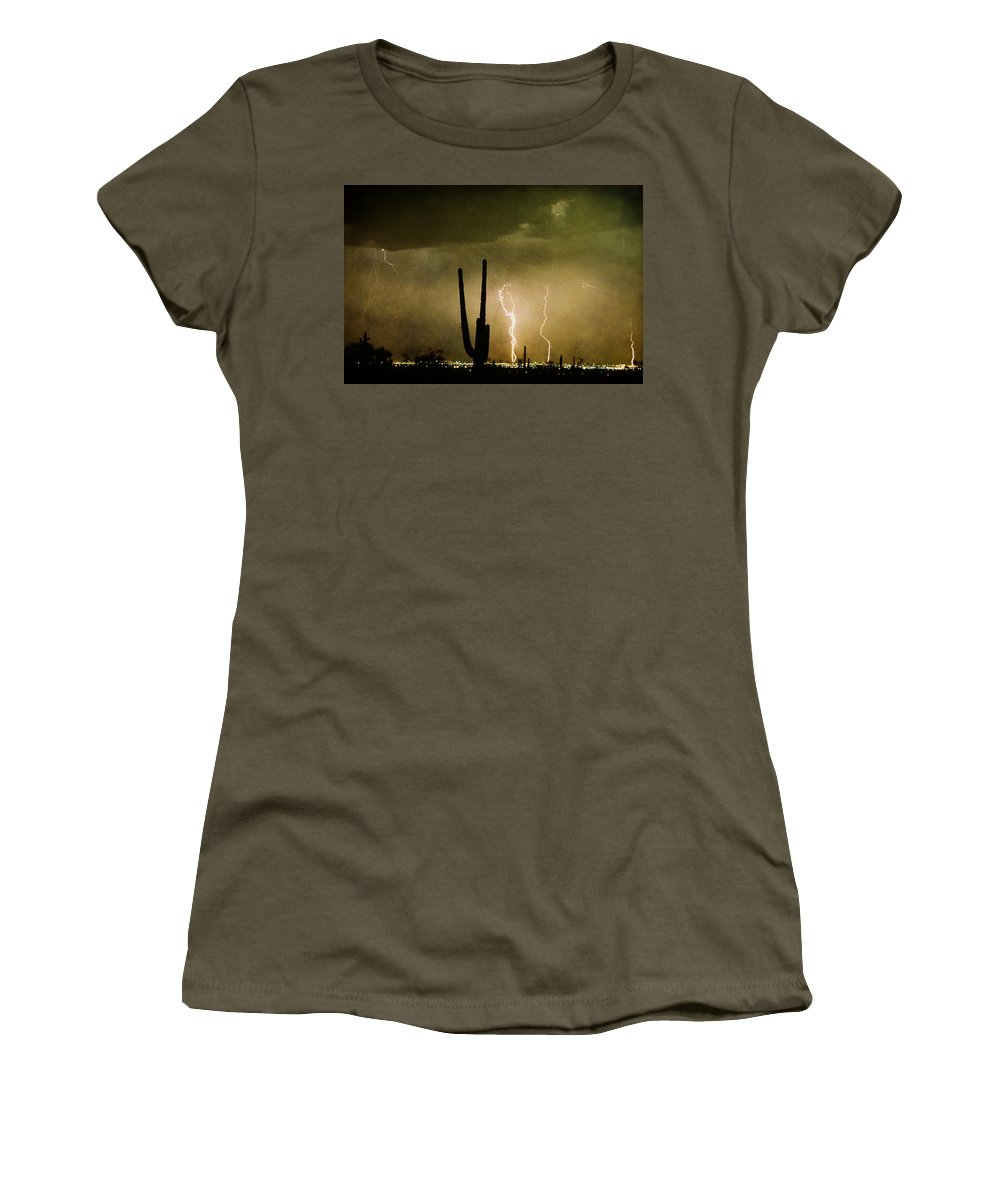 Lightning Women's T-Shirt featuring the photograph Giant Saguaro Southwest Lightning Peace Out by James BO Insogna