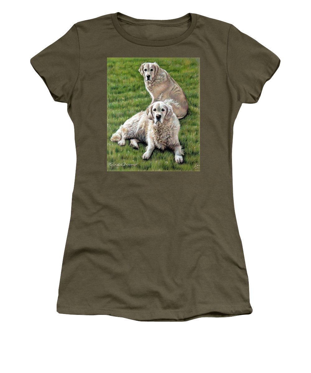 Dog Women's T-Shirt featuring the pastel Gina And Boomer by Nicole Zeug
