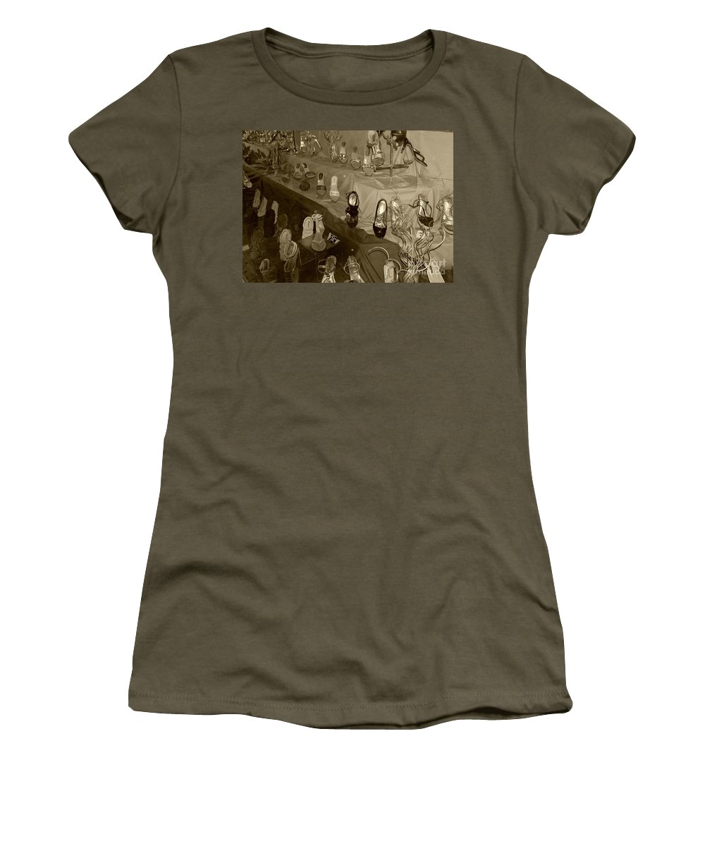 Shoes Women's T-Shirt featuring the photograph Girl Cant Have Enough Shoes by Debbi Granruth