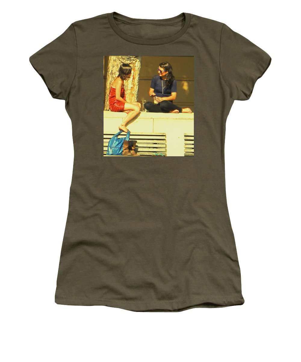 Girl Women's T-Shirt (Athletic Fit) featuring the photograph Girl Talk by Ian MacDonald