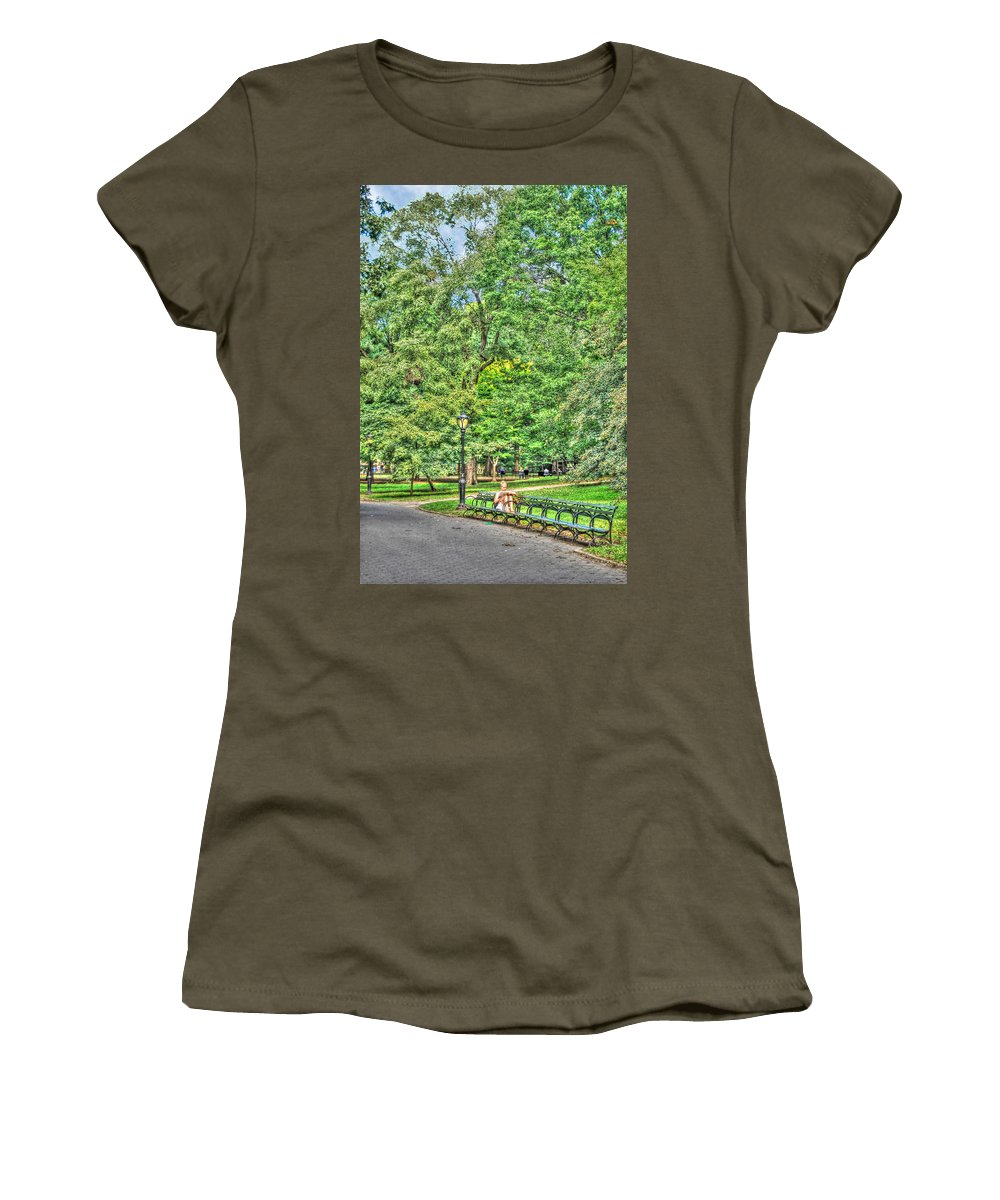 Central Park Women's T-Shirt featuring the photograph Girl Uninterrupted In Central Park by Randy Aveille