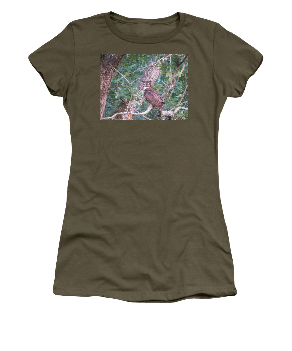 Great Horned Owl Women's T-Shirt featuring the photograph Give A Hoot by Charles Green