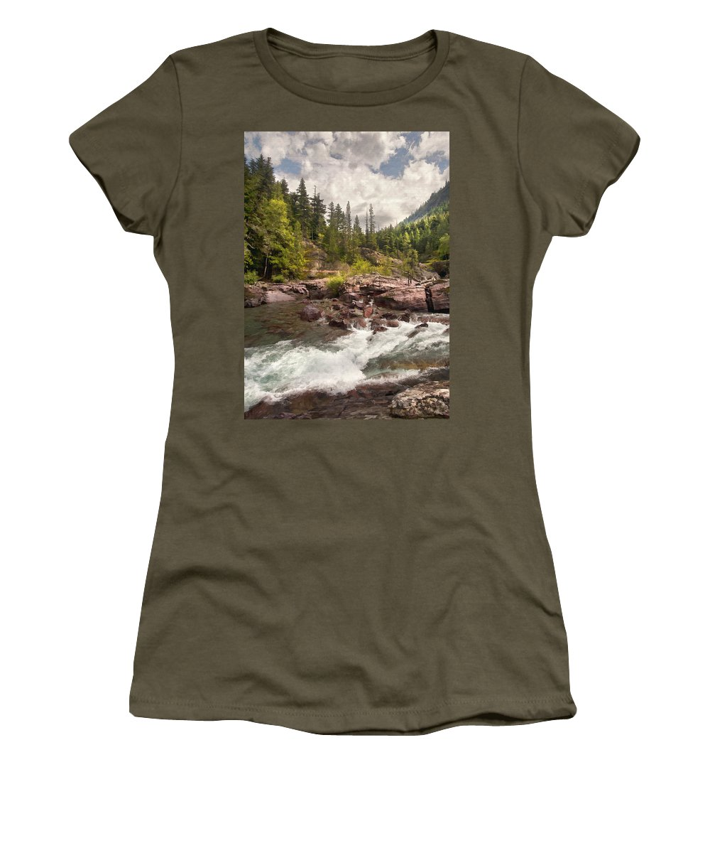 Landscape Women's T-Shirt (Athletic Fit) featuring the digital art Glacier Waterfall by Sharon Foster
