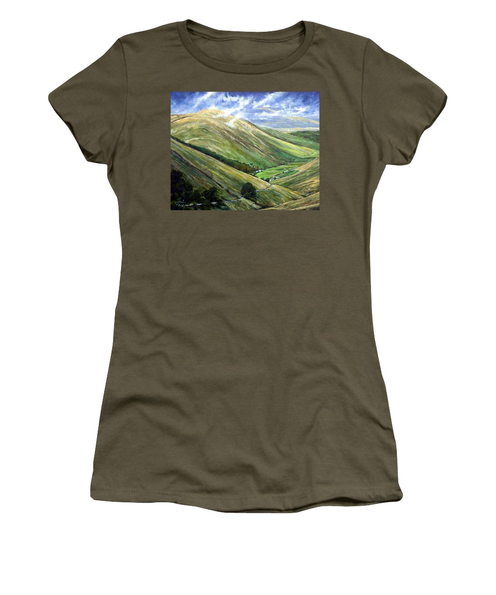 Landscapes Women's T-Shirt (Athletic Fit) featuring the painting Glen Gesh Ireland by Jim Gola