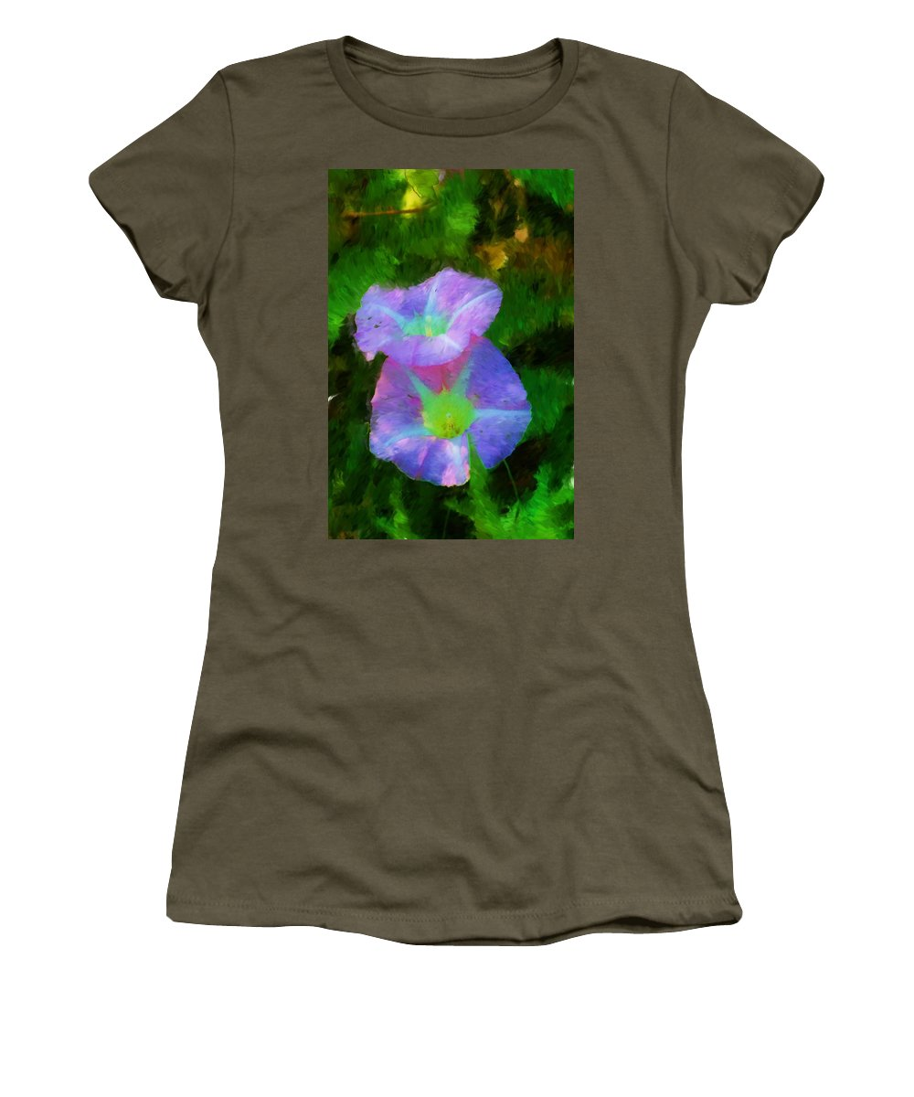 Floral Women's T-Shirt (Athletic Fit) featuring the painting Gloria In The Shade by David Lane