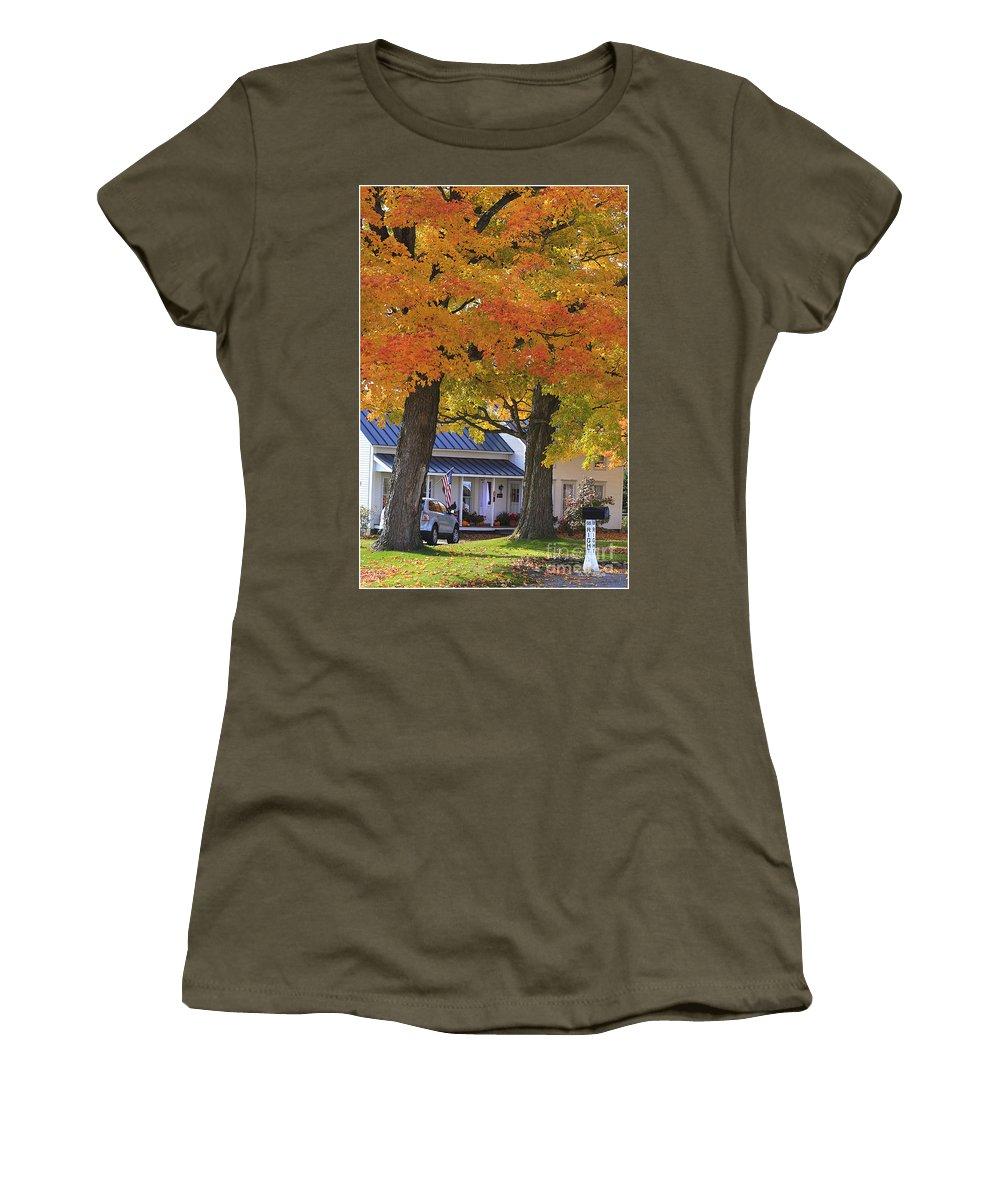 Fall Women's T-Shirt featuring the photograph Go Right Please by Deborah Benoit