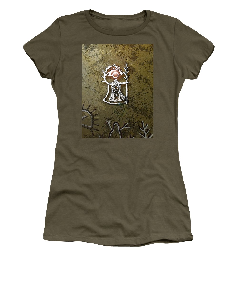 Goddess Women's T-Shirt (Athletic Fit) featuring the digital art Goddess Of Fertility by Merja Waters