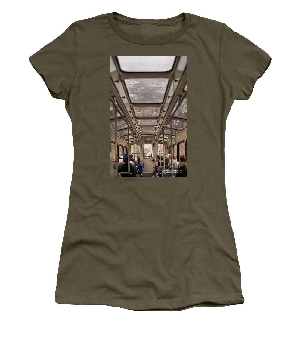 Cable Car Women's T-Shirt (Athletic Fit) featuring the photograph Going Down by Richard Rizzo