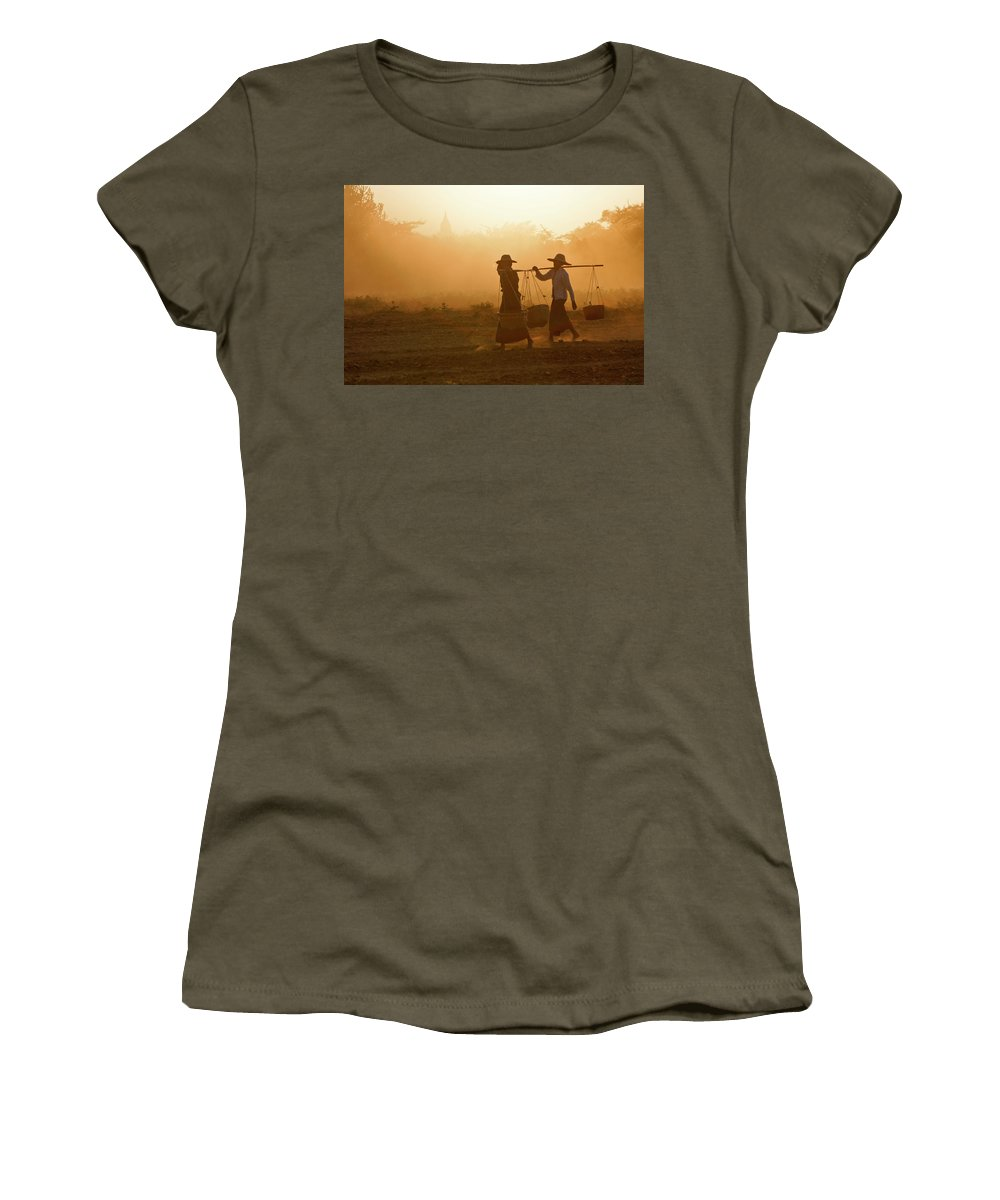 Asia Women's T-Shirt featuring the photograph Going Home At Sunset by Michele Burgess