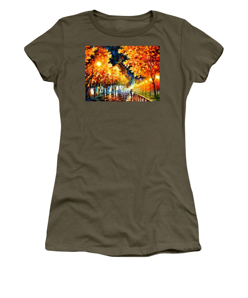 Afremov Women's T-Shirt featuring the painting Gold Boulevard by Leonid Afremov