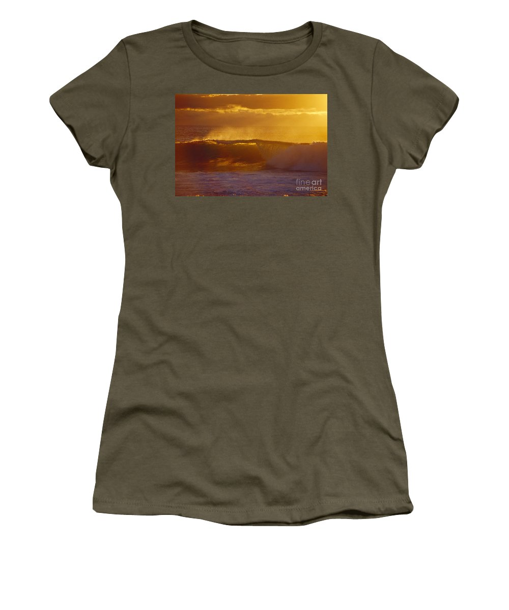 Afternoon Women's T-Shirt featuring the photograph Golden Backlit Wave by Vince Cavataio - Printscapes