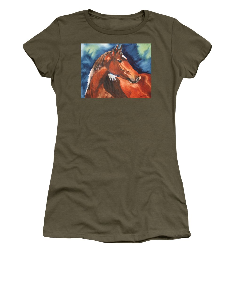 Horse Women's T-Shirt featuring the painting Golden Boy by Jean Blackmer