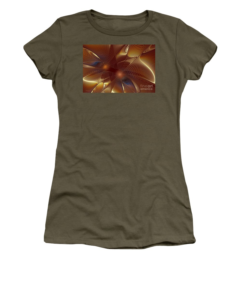 Digital Women's T-Shirt (Athletic Fit) featuring the digital art Golden Bronze Swirl by Deborah Benoit