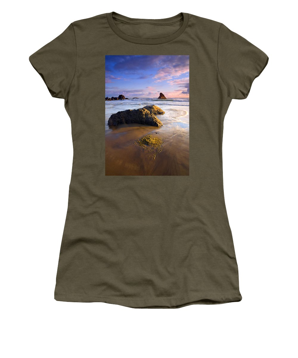 Beach Women's T-Shirt (Athletic Fit) featuring the photograph Golden Coast by Mike Dawson