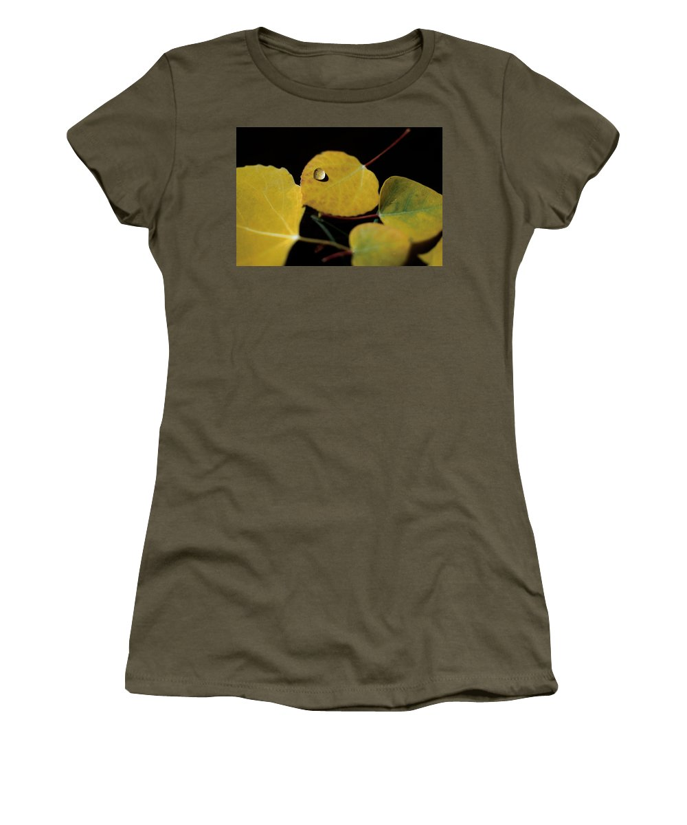 Aspen Women's T-Shirt (Athletic Fit) featuring the photograph Golden Drop by Jerry McElroy