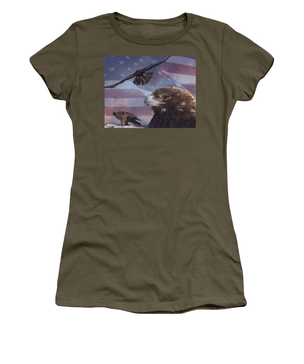 American Flag Women's T-Shirt featuring the photograph Golden Eagle Collage by Ernie Echols
