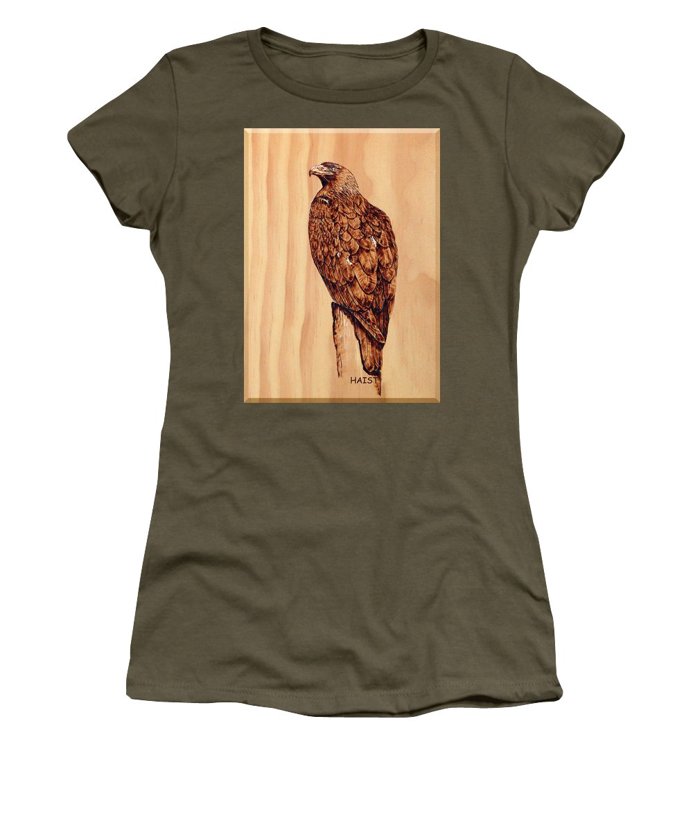 Eagle Women's T-Shirt featuring the pyrography Golden Eagle by Ron Haist
