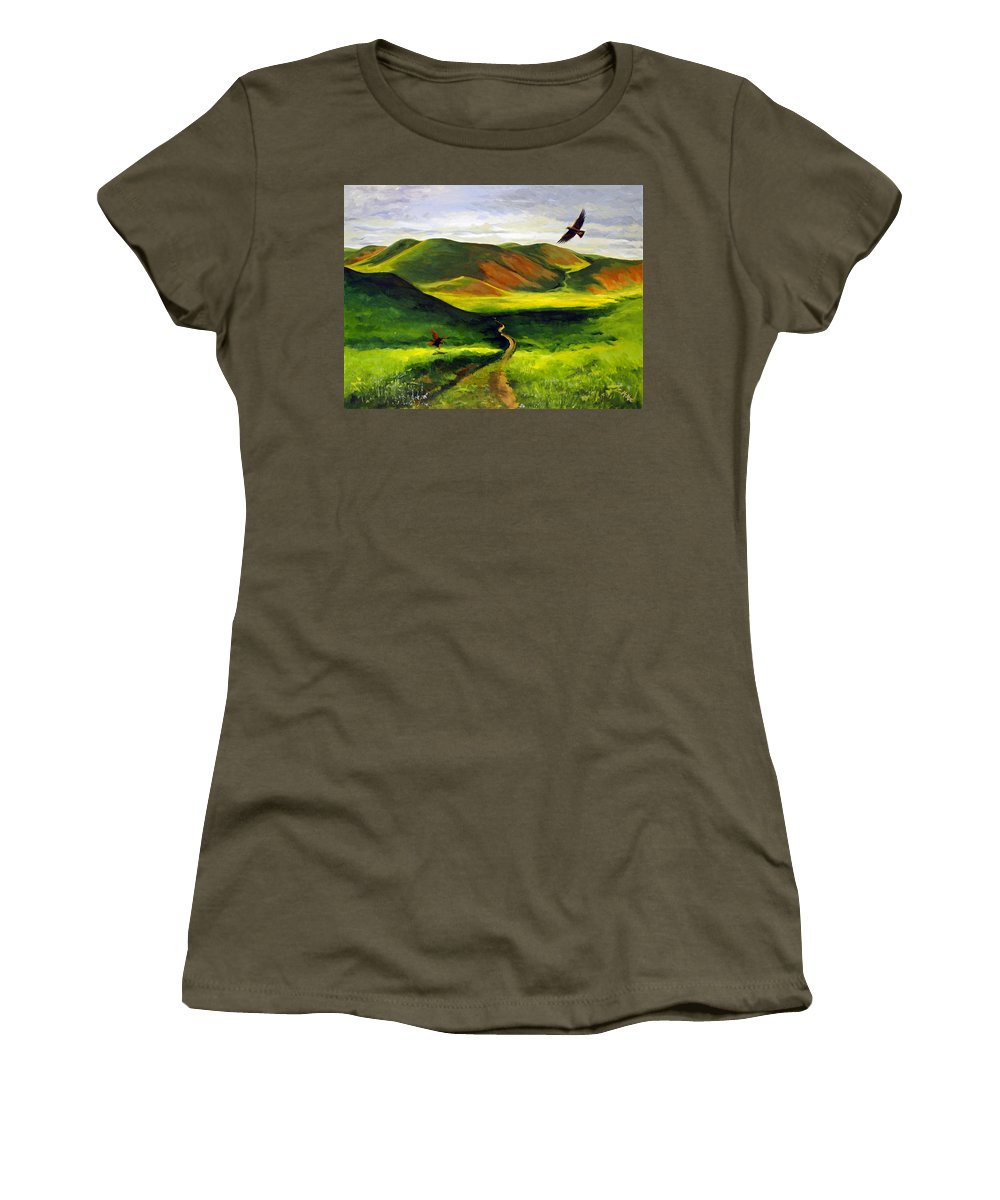 Acrylic Women's T-Shirt featuring the painting Golden Eagles On Green Grassland by Suzanne McKee