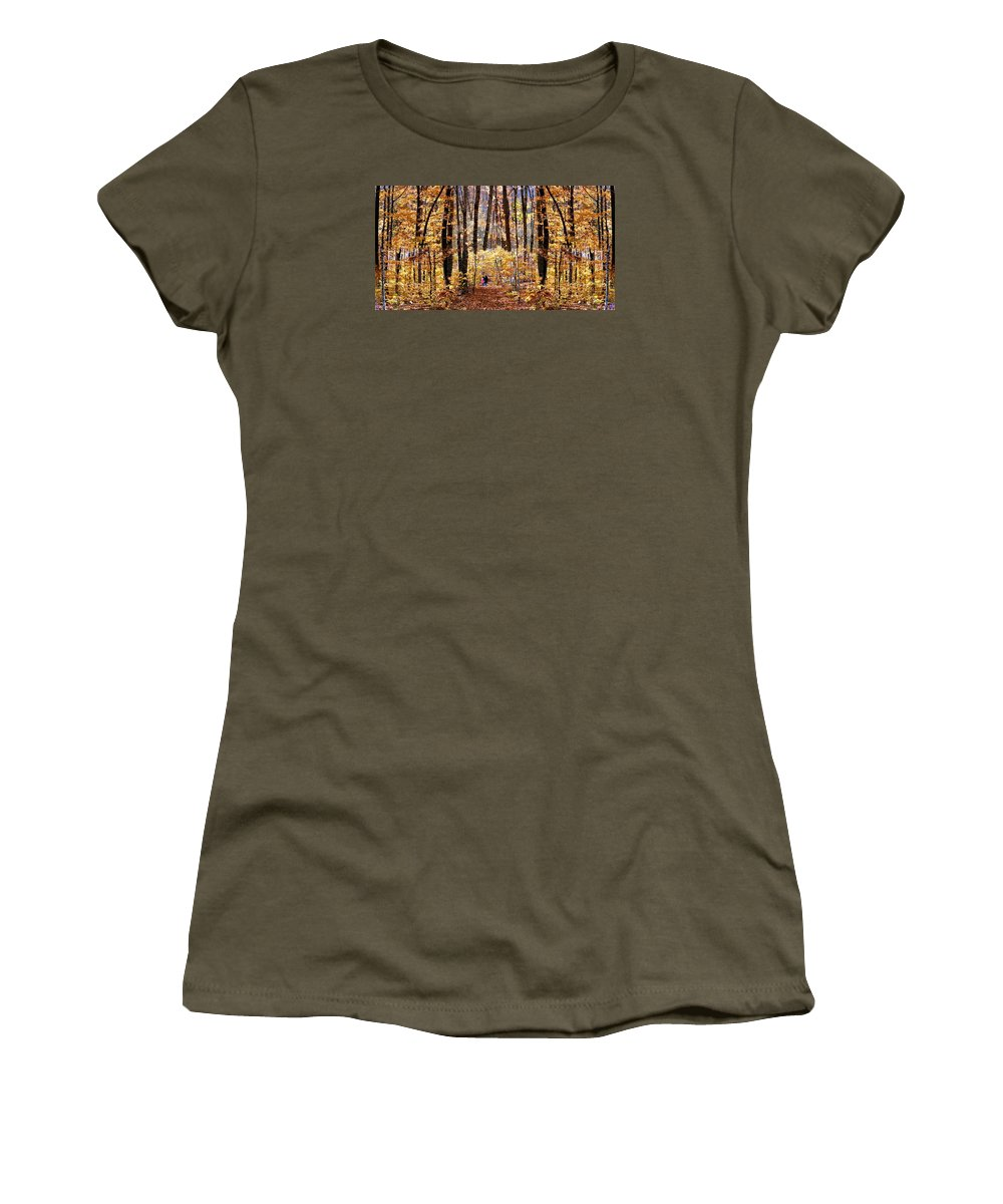 Autumn Fall Foliage Leaves Trees Landscape Yellow Orange Forest Woods Photography Women's T-Shirt (Athletic Fit) featuring the photograph Golden Gate by Dave Martsolf