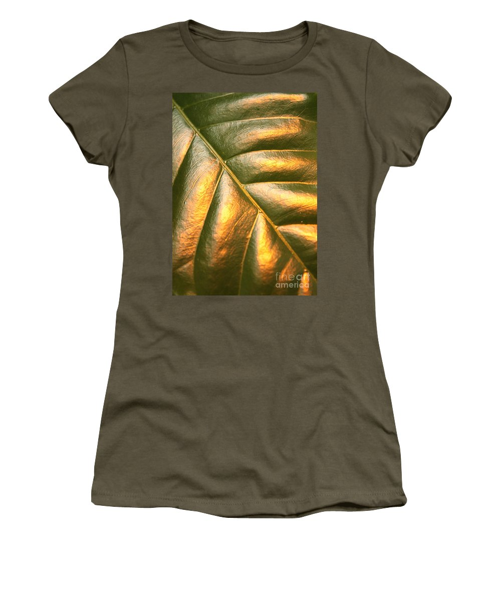 Gold Women's T-Shirt (Athletic Fit) featuring the photograph Golden Leaf by Carol Groenen