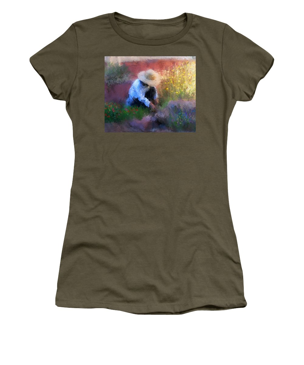 Woman Women's T-Shirt featuring the painting Golden Light by Colleen Taylor