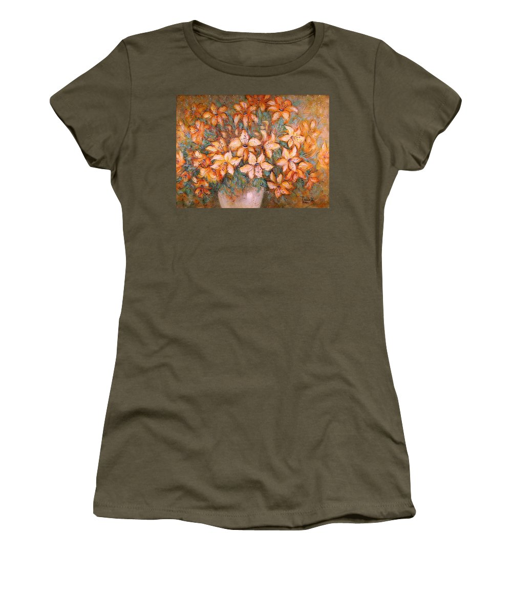 Yellow Lilies Women's T-Shirt (Athletic Fit) featuring the painting Golden Lilies by Natalie Holland