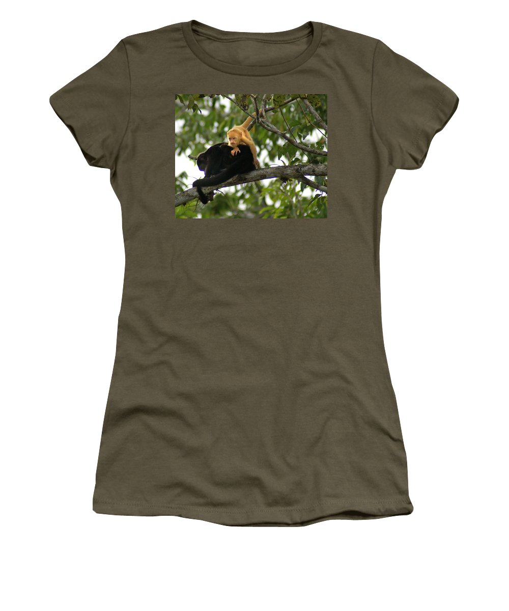 Monkey Women's T-Shirt (Athletic Fit) featuring the photograph Golden Monkey by Heather Coen