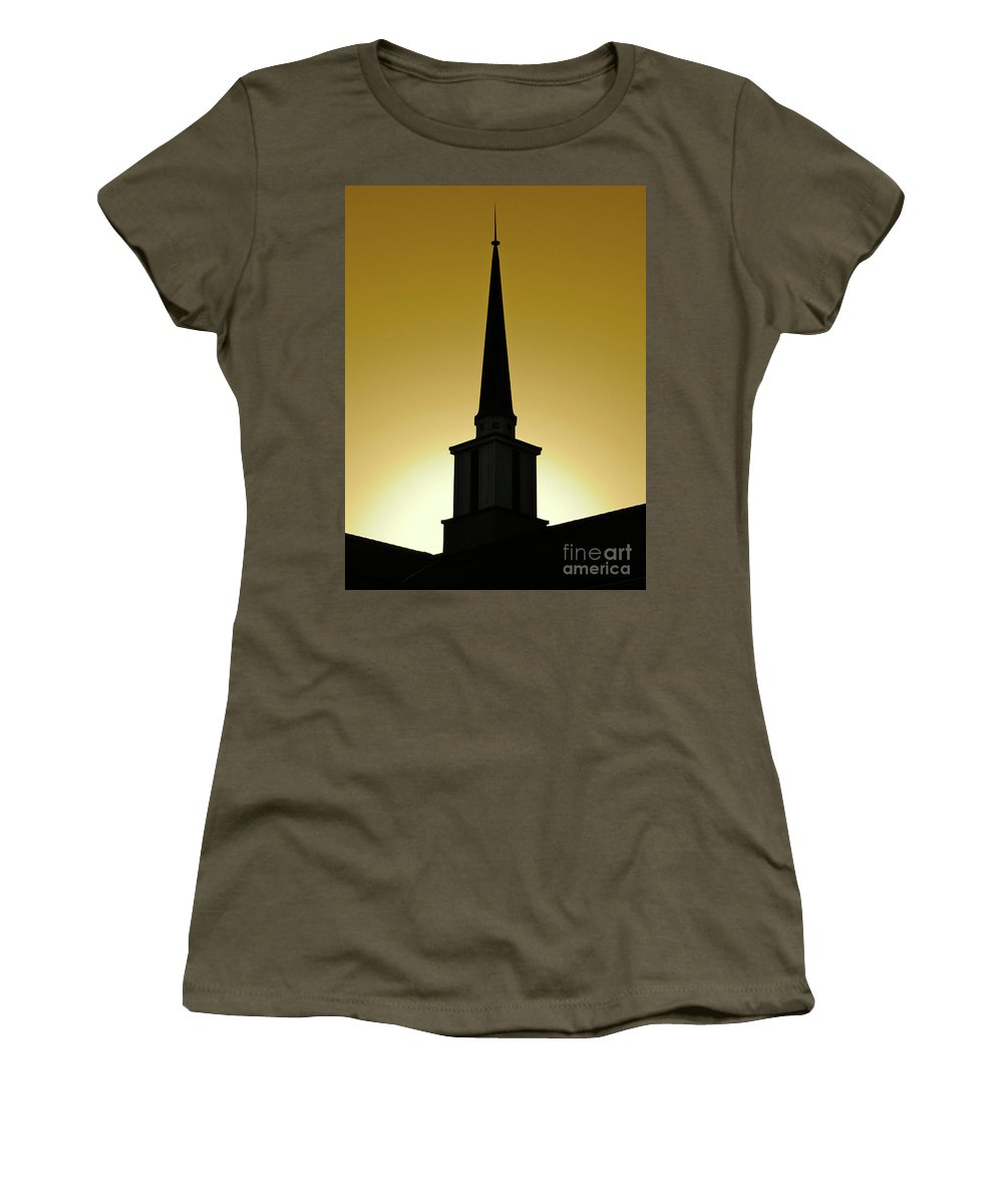 Cml Brown Women's T-Shirt featuring the photograph Golden Sky Steeple by CML Brown