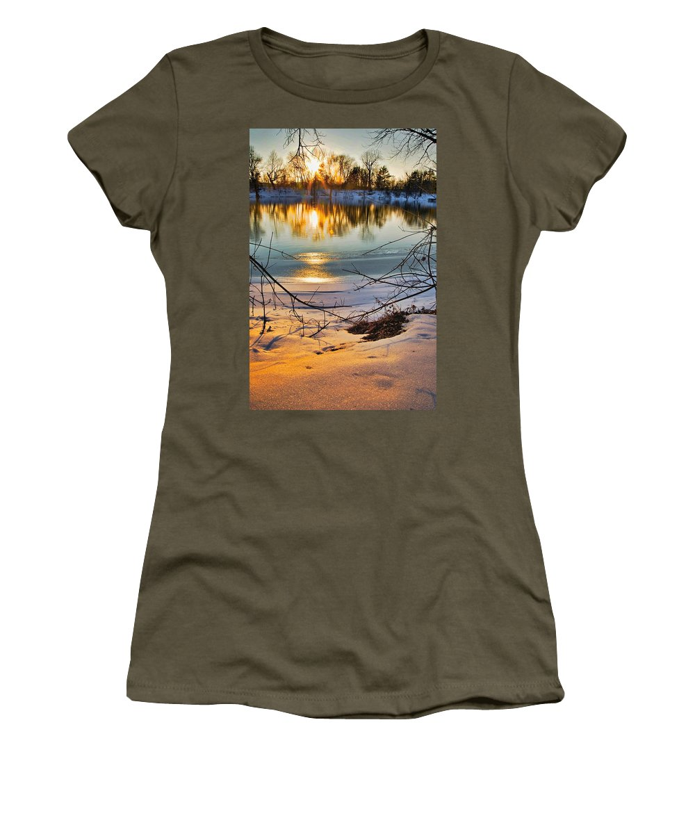 Snow Women's T-Shirt featuring the photograph Golden Snow by Robert Pearson