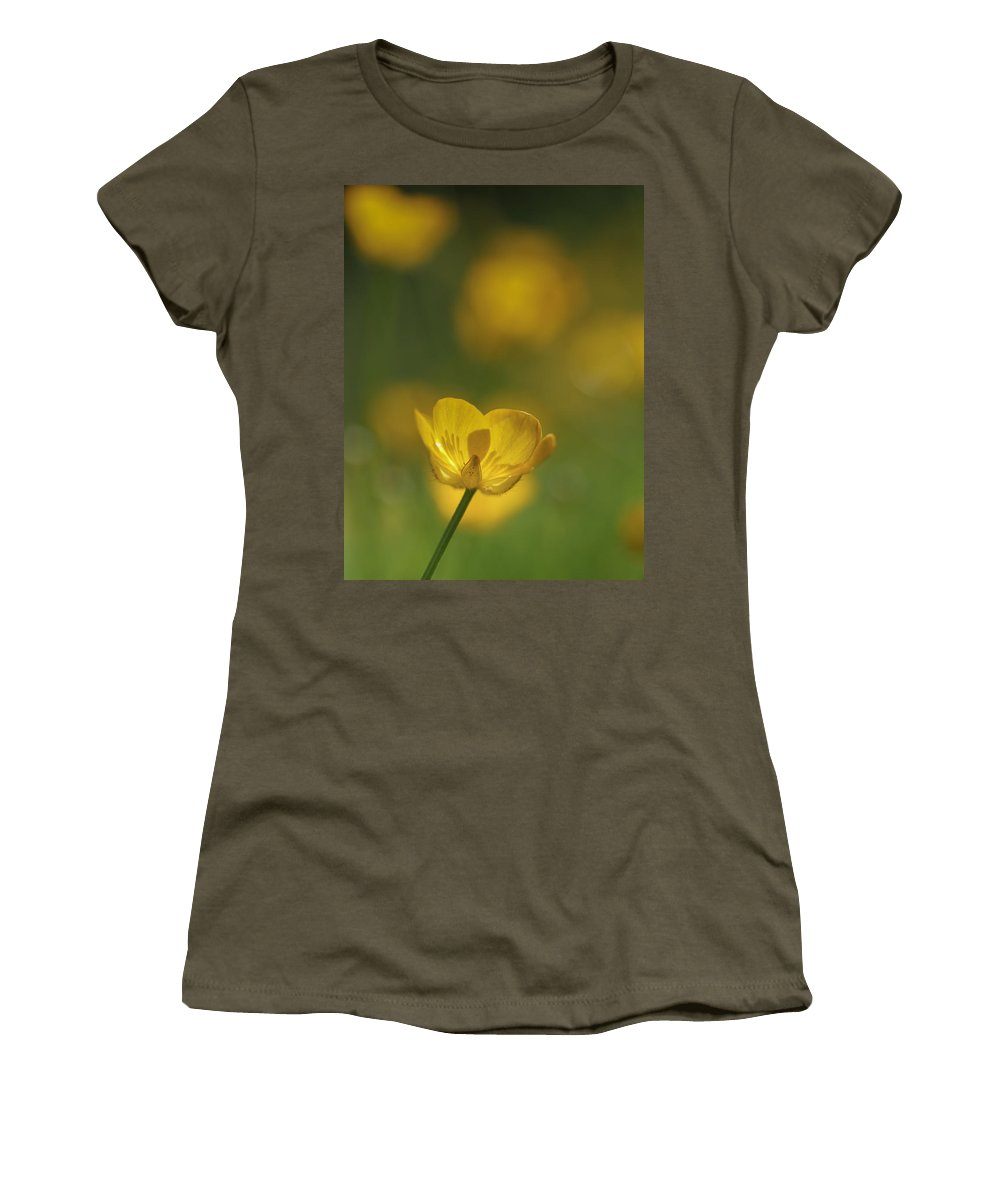 Buttercup Women's T-Shirt featuring the photograph Golden Summer Buttercup 2 by Mo Barton