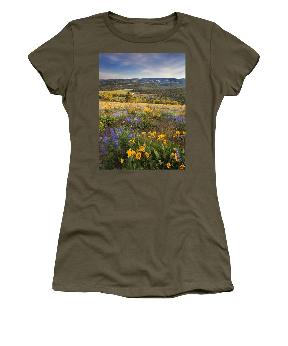 Wildflowers Women's T-Shirt (Athletic Fit) featuring the photograph Golden Valley by Mike Dawson
