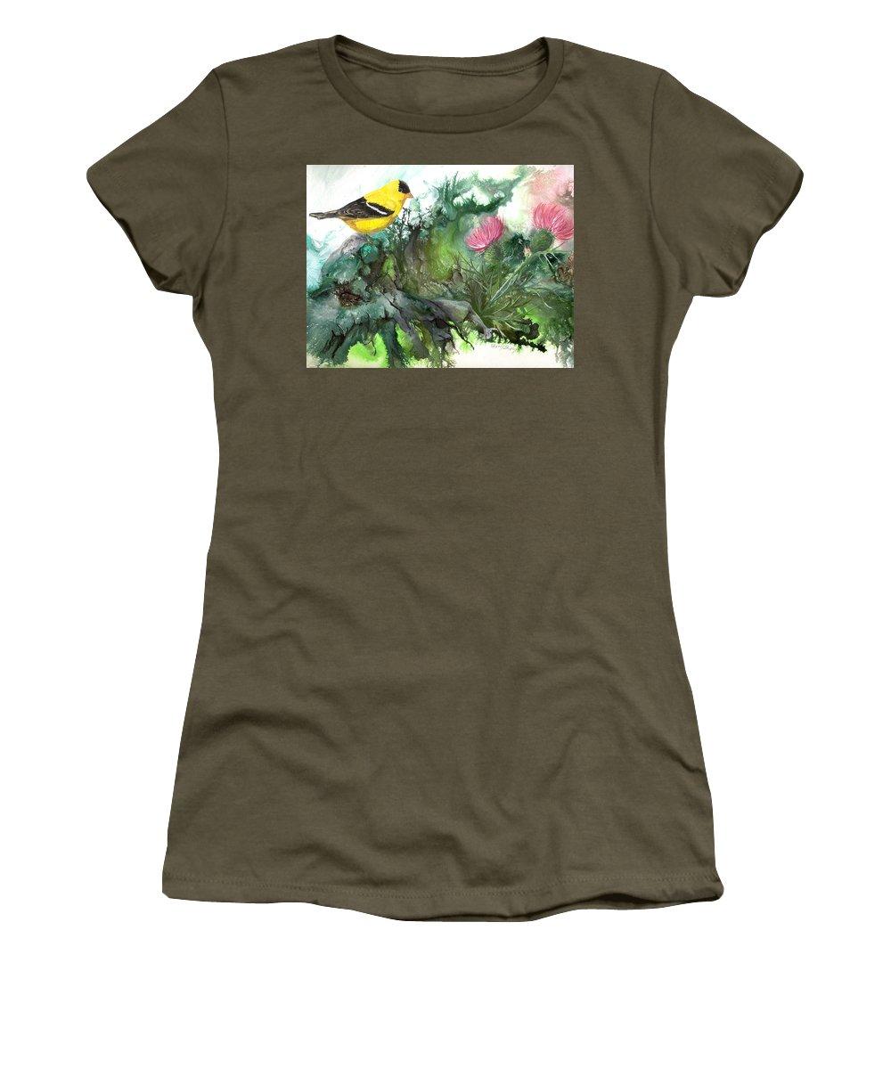 Bird Women's T-Shirt featuring the painting Goldfinch by Sherry Shipley