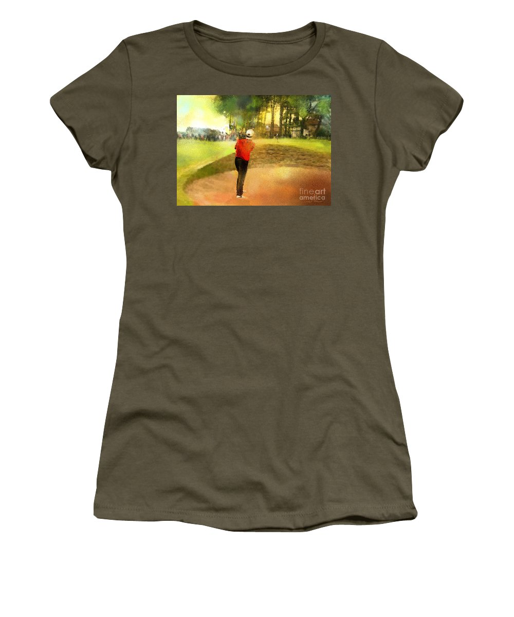 Golf Women's T-Shirt featuring the painting Golf In Scotland Saint Andrews 01 by Miki De Goodaboom