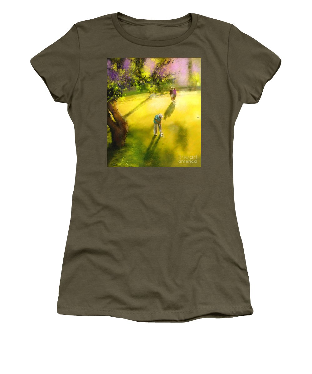 Golf Women's T-Shirt featuring the painting Golf In Spain Castello Masters 01 by Miki De Goodaboom