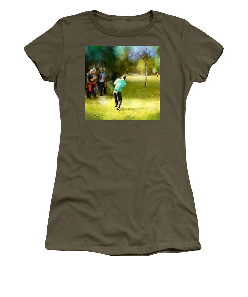 Golf Women's T-Shirt featuring the painting Golf Vivendi Trophy In France 02 by Miki De Goodaboom