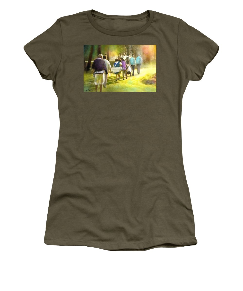 Golf Women's T-Shirt featuring the painting Golf Vivendi Trophy In France 04 by Miki De Goodaboom