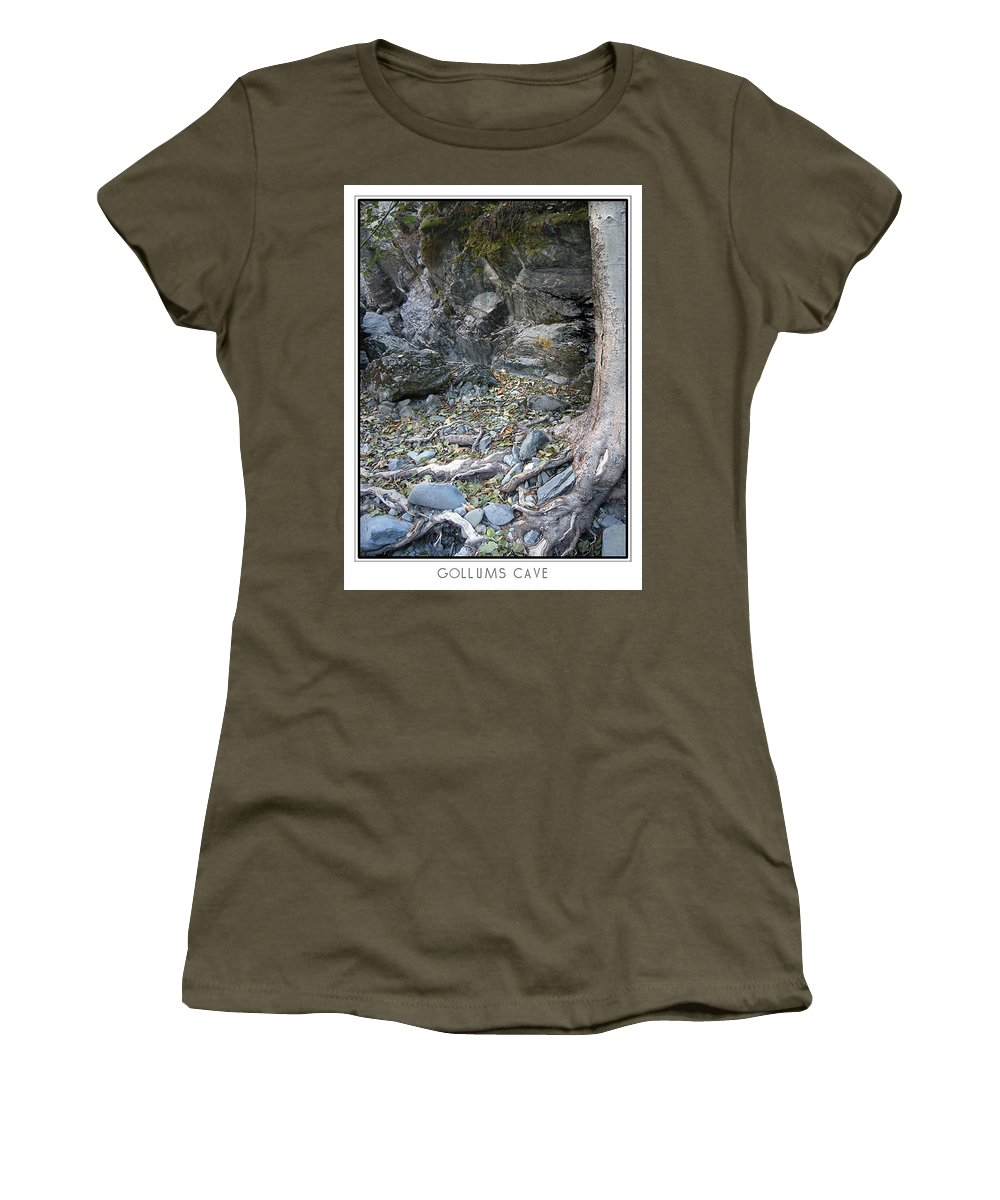 Trees Women's T-Shirt (Athletic Fit) featuring the photograph Gollum's Cave by Karen W Meyer