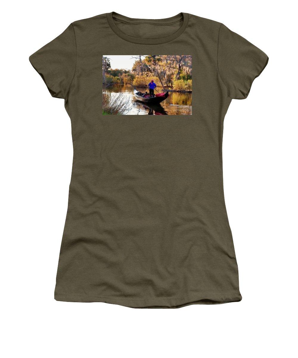 Gondola Women's T-Shirt featuring the photograph Gondola In City Park Lagoon New Orleans by Kathleen K Parker