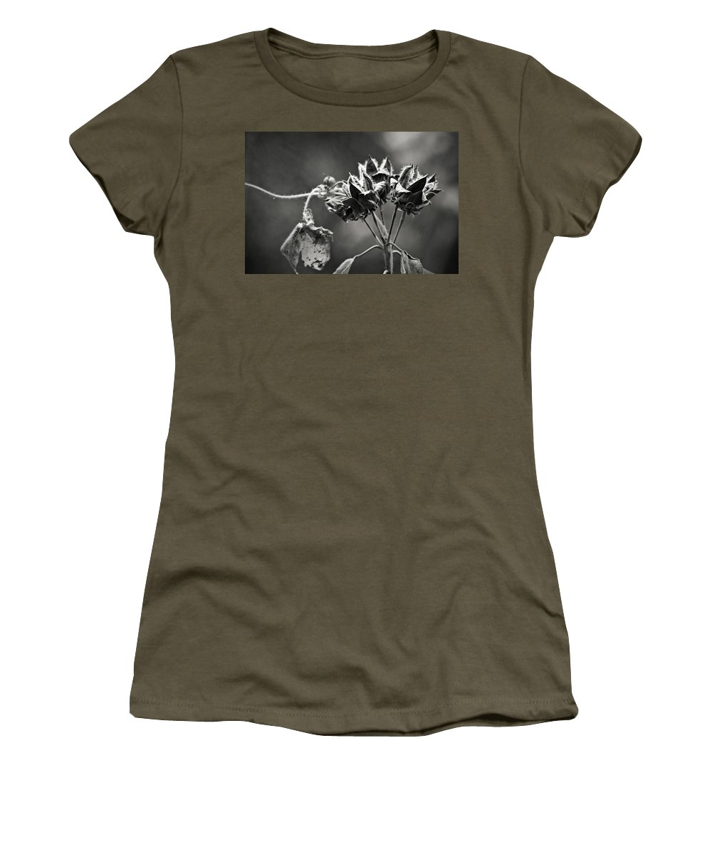 Flower Women's T-Shirt featuring the photograph Gone To Seed Hibiscus by Teresa Mucha
