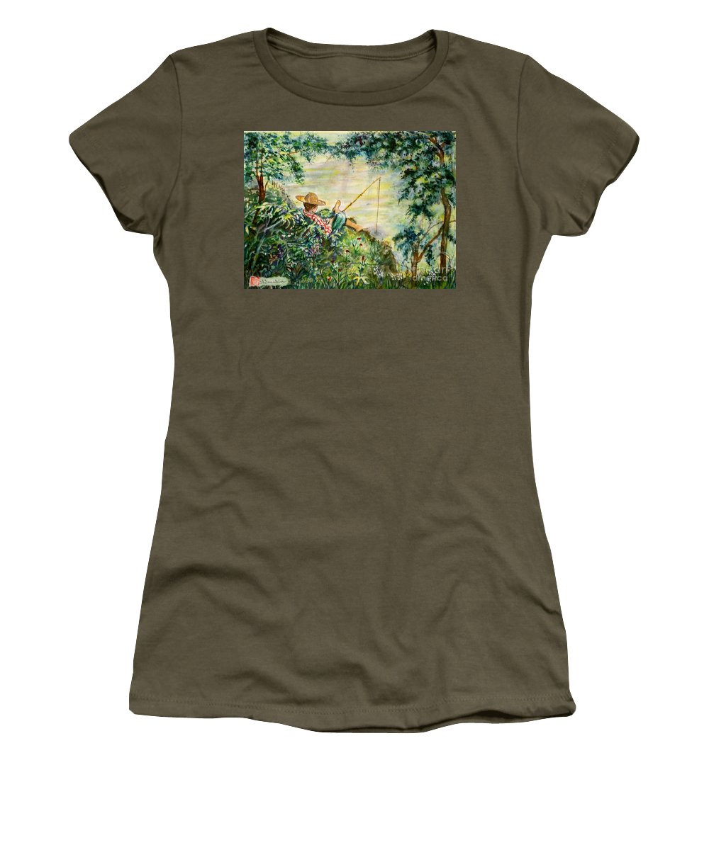 Landscape Women's T-Shirt (Athletic Fit) featuring the painting Good Fishing by Norma Boeckler