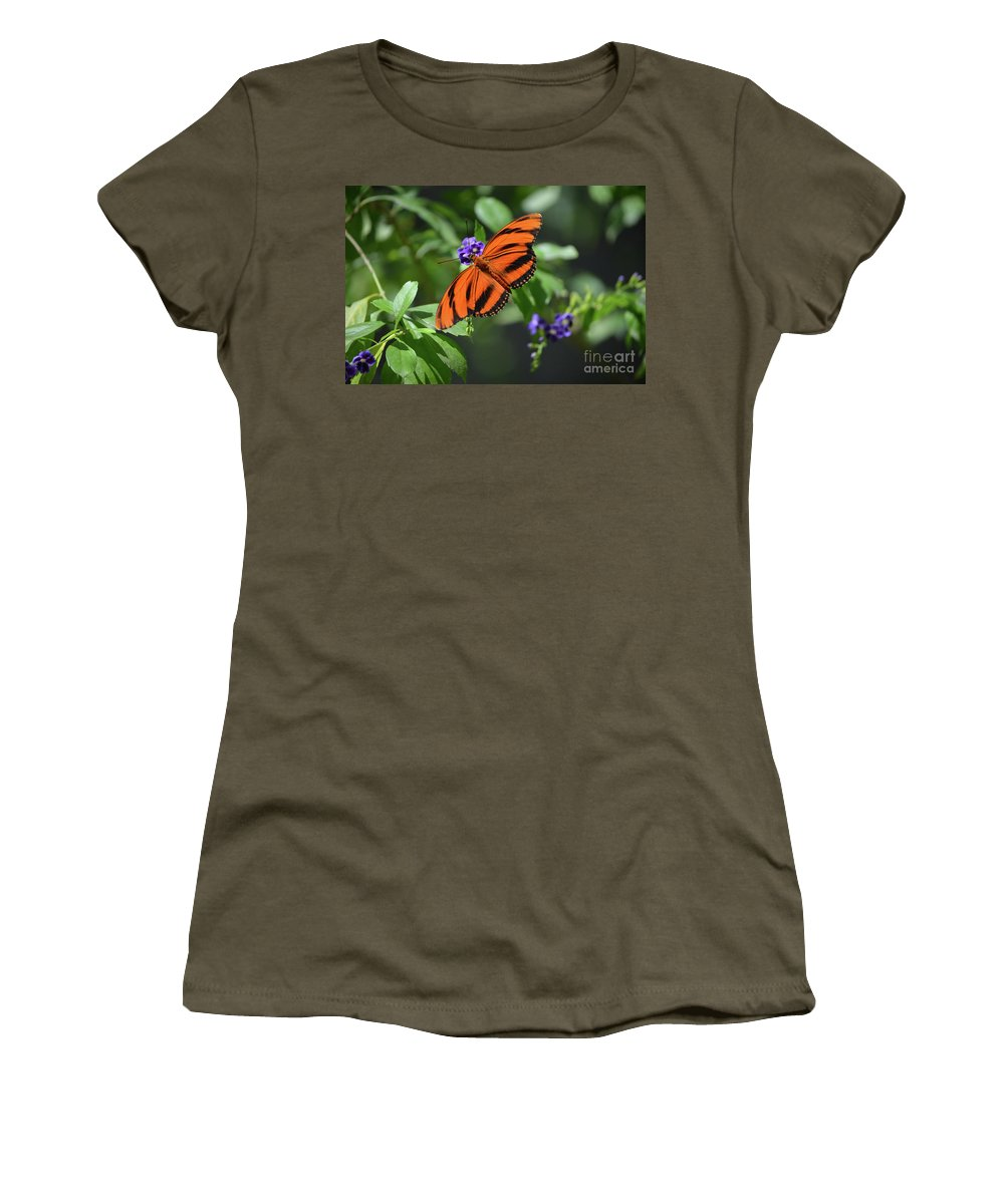 Butterfly Women's T-Shirt featuring the photograph Gorgeous Close Up Of An Oak Tiger Butterfly In Nature by DejaVu Designs
