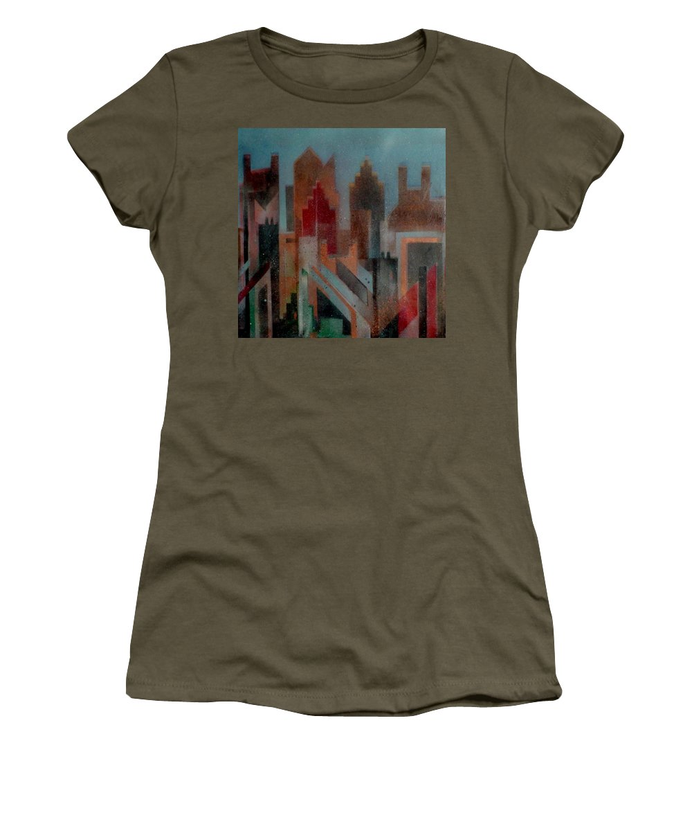Abstract Women's T-Shirt featuring the painting Gothem City by Anita Burgermeister