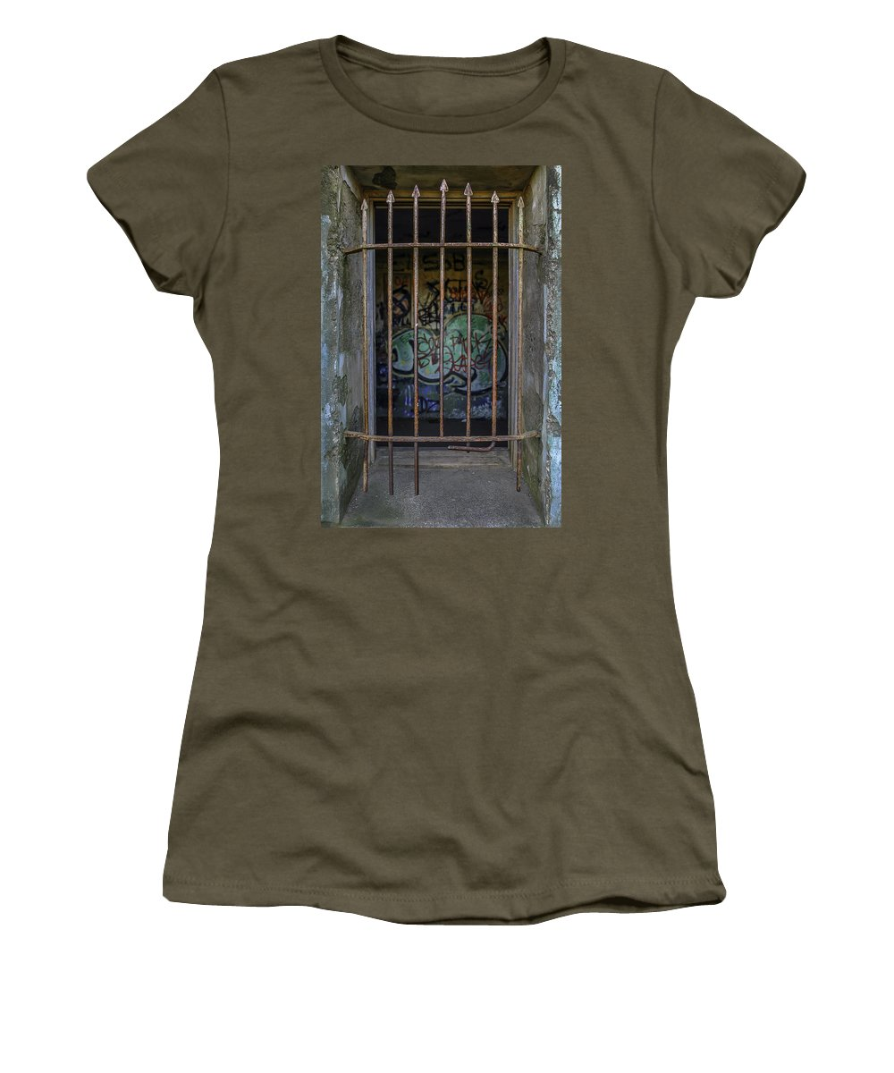 Marin Headlands Women's T-Shirt (Athletic Fit) featuring the photograph Graffiti Is Barred by Joseph Yvon Cote