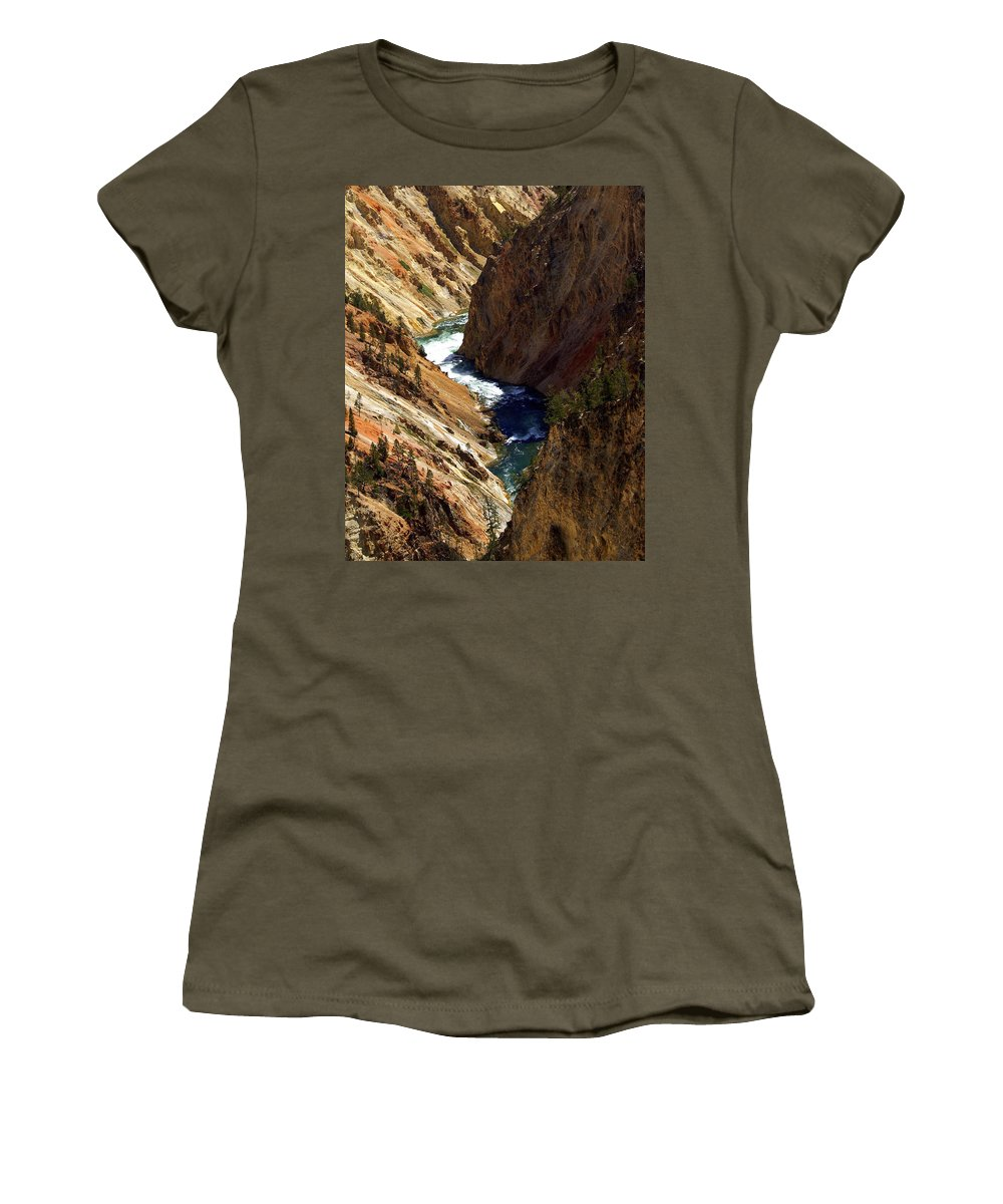 Yellowstone National Park Women's T-Shirt featuring the photograph Grand Canyon Of The Yellowstone 1 by Marty Koch