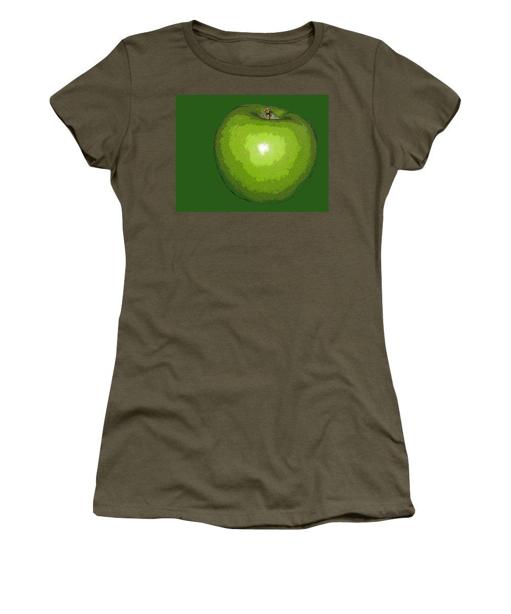 Apple Women's T-Shirt featuring the digital art Granny Smith by Ian MacDonald