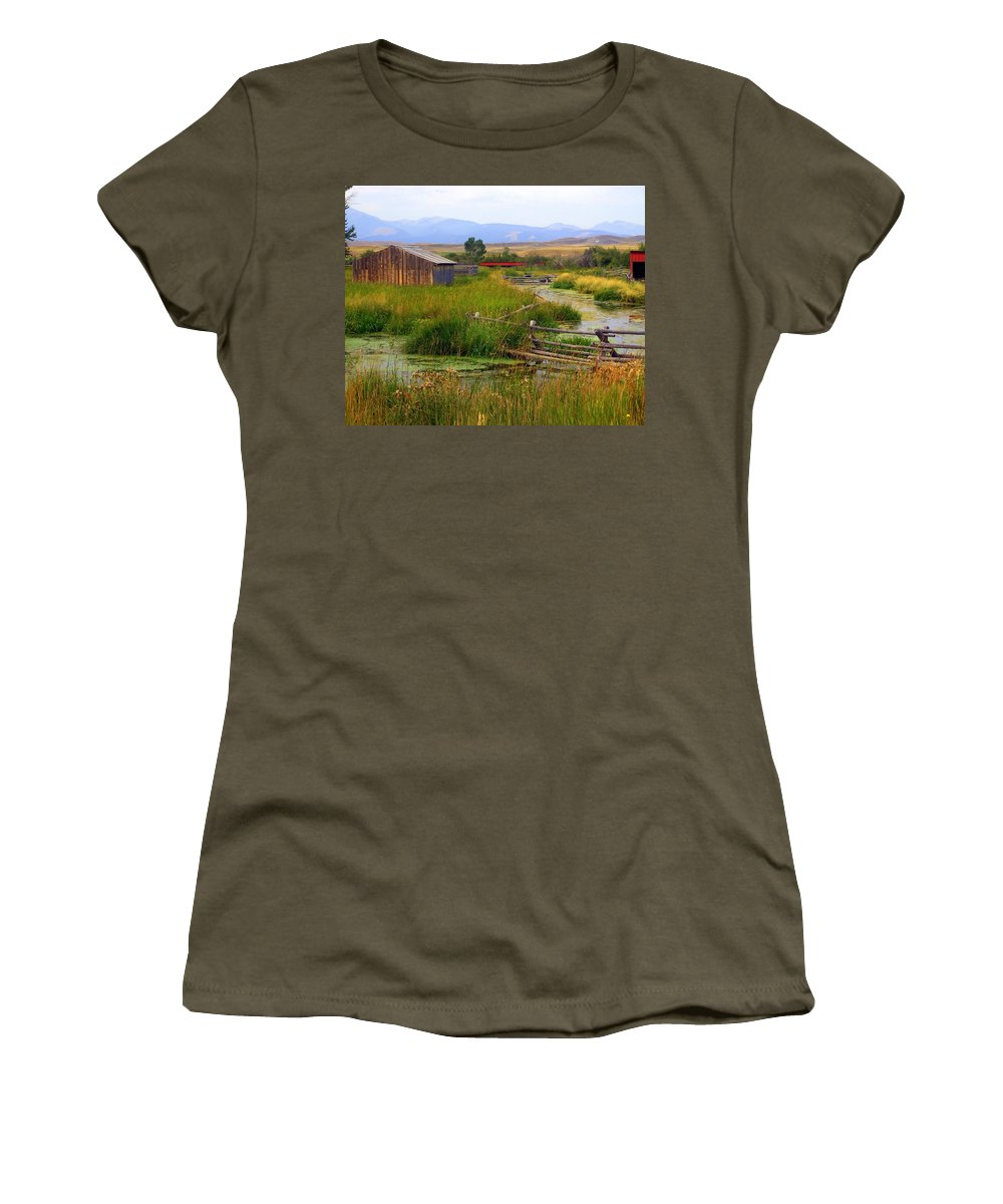 Ranch Women's T-Shirt (Athletic Fit) featuring the photograph Grant Khors Ranch Deer Lodge Mt by Marty Koch