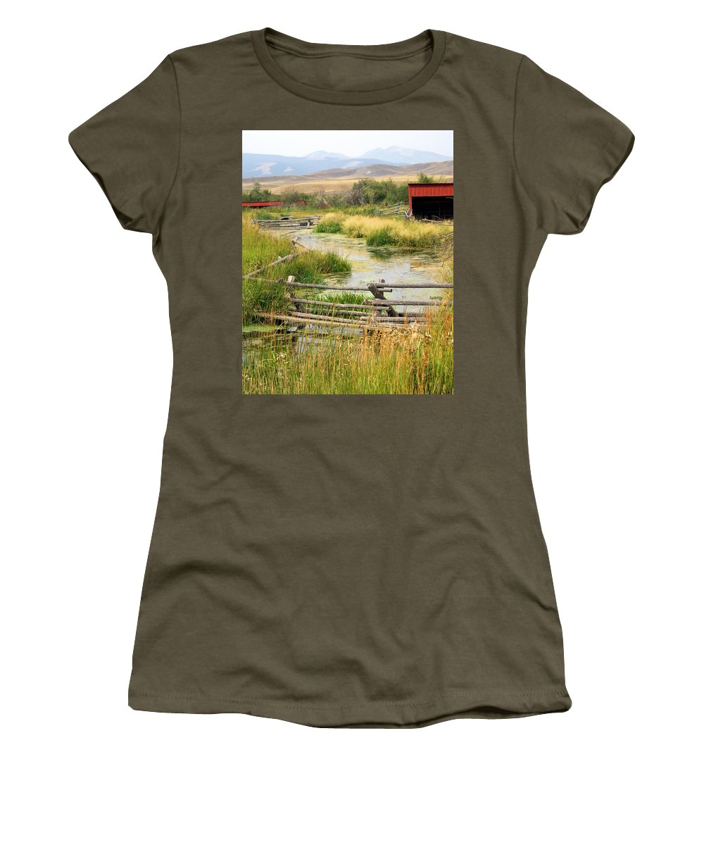 Ranch Women's T-Shirt (Athletic Fit) featuring the photograph Grants Khors Ranch Vertical by Marty Koch