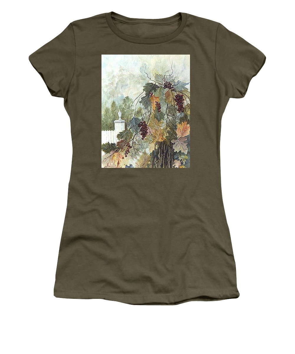 Fruit Women's T-Shirt (Athletic Fit) featuring the painting Grapevine Topiary by Ben Kiger